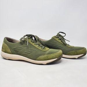Dansko Womens Hayden Suede Mesh Lace Up Sneakers